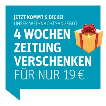 Weihnachtsgeschenkabo - 4 Wochen Zeitung verschenken für nur 19 € plus ein Glücksrakete-Los gratis dazu