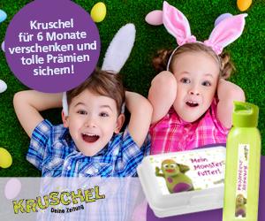Kruschel Kinderzeitung 6 Monate verschenken  + Kruschel-Trinkflasche und Kruschel-Brotdose gratis dazu